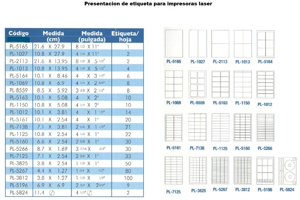 Medidas de etiquetas autoadheribles para impresora laser e ...